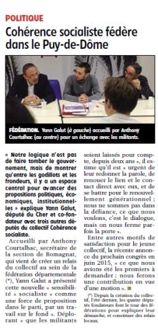 Cohérence Socialiste fédère dans le Puy-de-Dôme - La Montagne - 141222