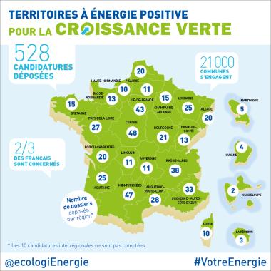 Carte des territoires à énergie positive pour la croissance verte - Crédits: Ministère de l'Ecologie, du Développement Durable et de l'Energie
