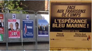 Photos de gauche prise dans le Nord  et photos de droite prise à Romagnat. Deux exemples de candidats fantômes mêmes sur les affiches. Crédits photos : A.C et B.M
