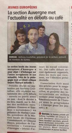 Article sur l'activité des Jeunes Européens Auvergne